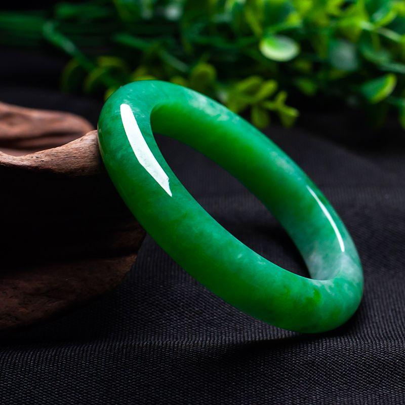 Buono Regalo naturale Myanmar A-Class pietra grezza Carving Verde Bracciale migliore regalo 54-62mm