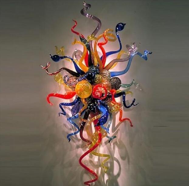 صناعة يدوية زجاج الإضاءة الحائط لديكور المنزل مخصص من الزجاج الملون الجدار الشمعدان الفن الحديث ديكور مصابيح جدار الفن مع لمبات LED