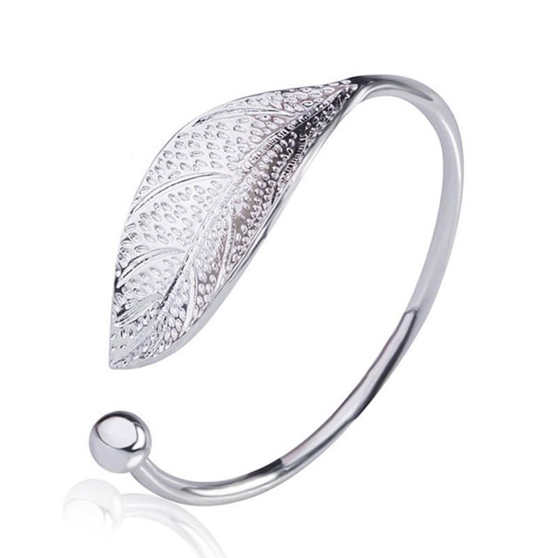 Élégance littéraire douce populaire, petites feuilles fraîches, Bracelets ouverts Bracelets de mode Bracelets Bijoux à la main C19030201