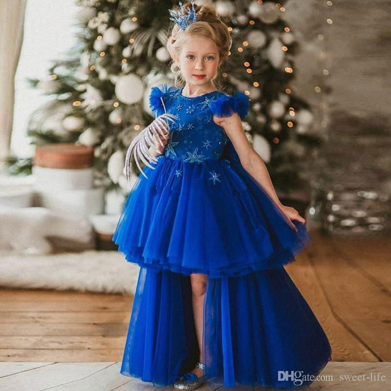 Royal Blue High Low Flower Girl Dresses for Wedding A Line Tiered Toddler Pageant Gowns Tulle Kids Communion Dress