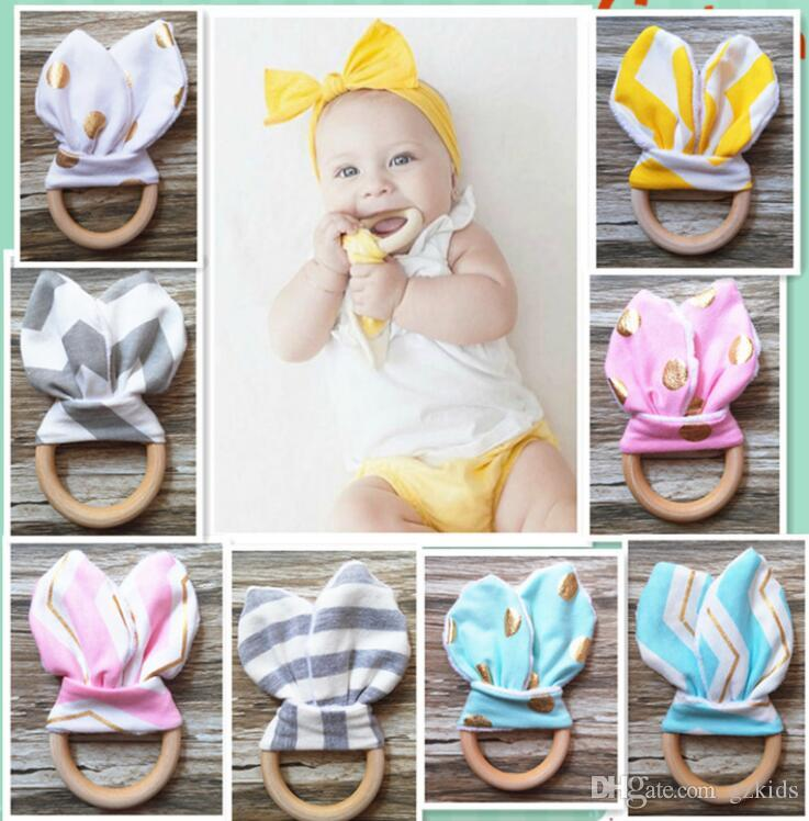 27 Colors Baby Teething Ring Safety Environmental Friendly Baby Teether Teething Ring Wooden Teething training Child Chews Baby Teeth Stick