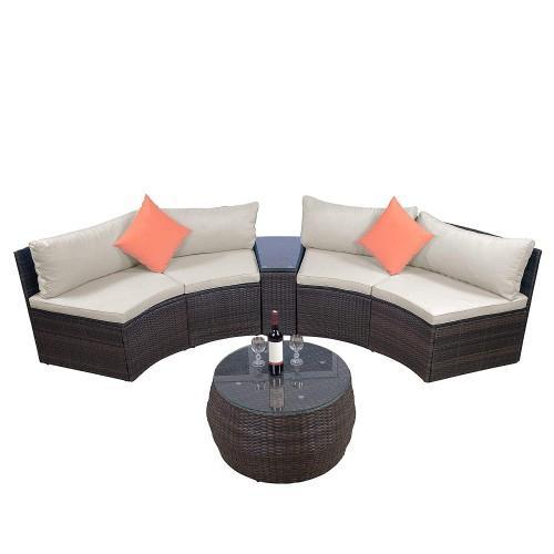 6 pièces Ensembles de meubles, d'extérieur sectionnel Les meubles en osier Set Sofa avec deux oreillers et une table basse
