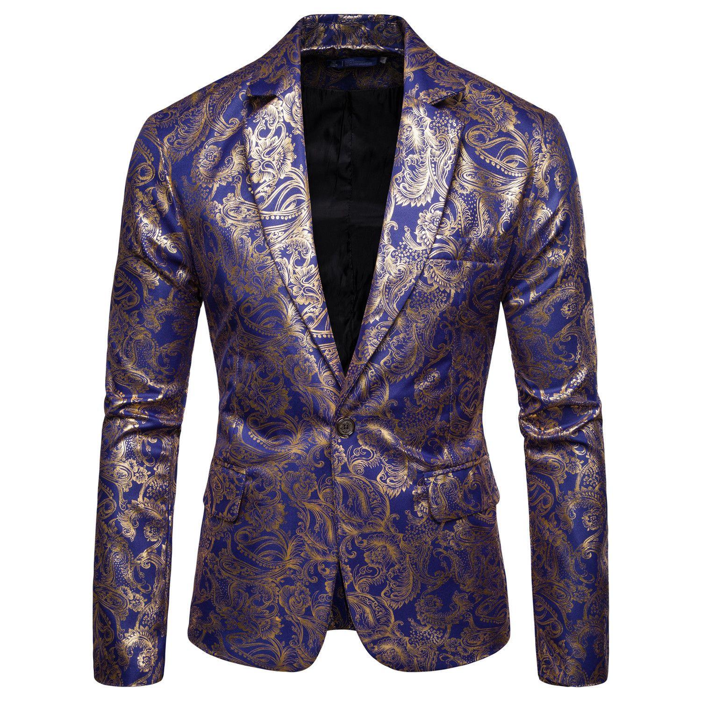 MEN'S Suit 2019 Outono E Inverno Nova Estilo Casual étnico-Style Bronze Floral-Imprimir Slim Fit paletó