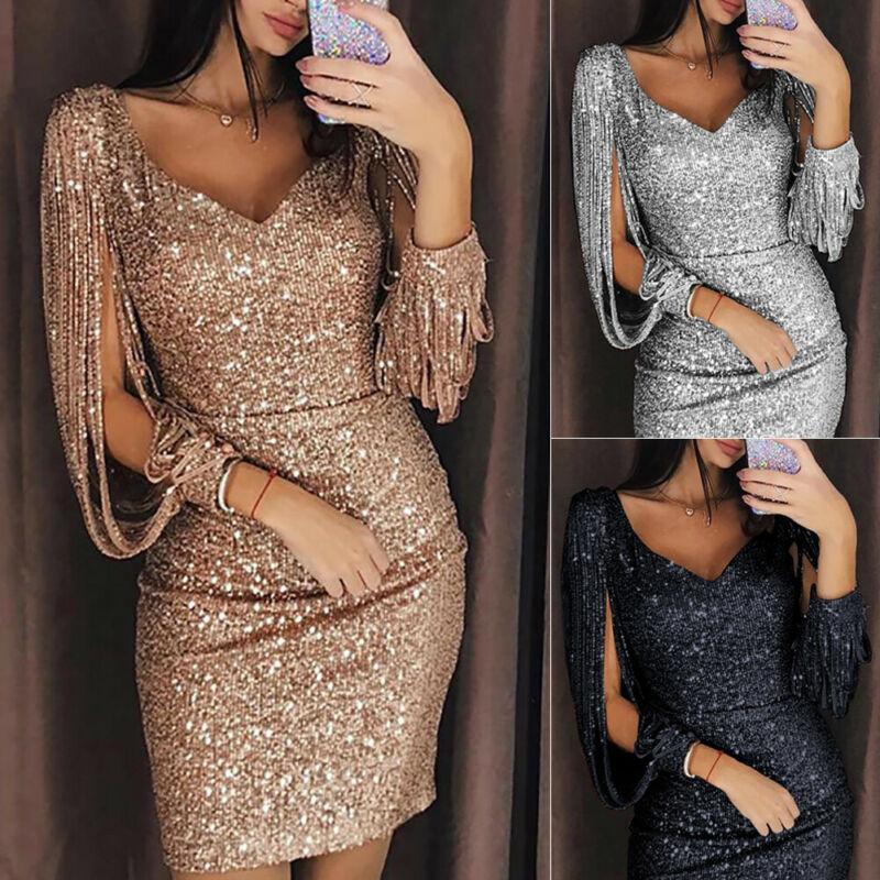 Frauen Bodycon Verband-Abend-Partei-Troddel-Schwarz-Silber-Rosen-Gold-Minikleid-Büro-Dame V-Ausschnitt Pailletten Fringe Chic Clubwear Hot