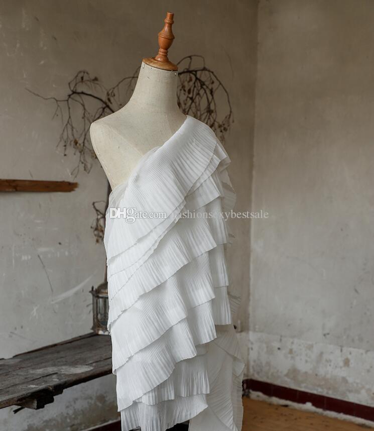 Sete-camada Processo branco plissado ondulado têxteis lar pano manequim vestidos de tecido diy casamento a laser gaze partido tweed tecido A432