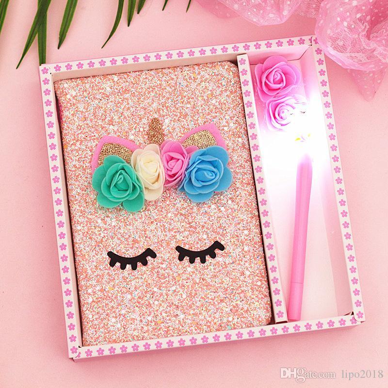 brilho, livro de nota, fada da flor, notebook unicórnio, menina do coração e caixa de presente lâmpada set