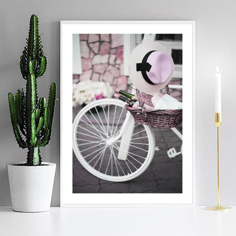 Canvas Posters Home Decoration Salon Pink Bicycle Still Life Wall Art Pictures Modular Painting HD Printed Framed For Bedroom