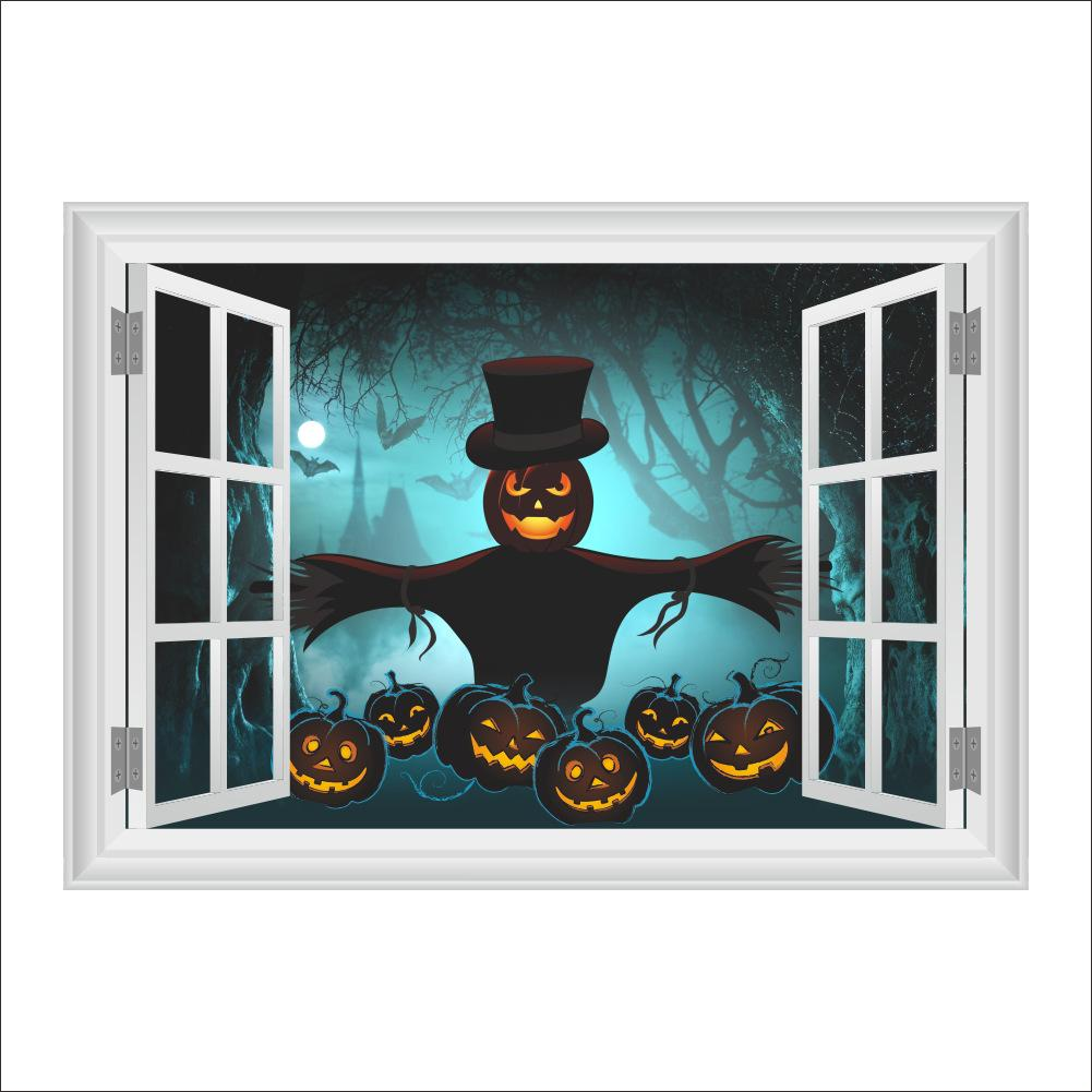 Хэллоуин Стены Стикеры Главная Декор Стены Тыквенная Голова Гостиная Спальня Украшения 3D Окна Плакат Росписи Обои Наклейки На Стены