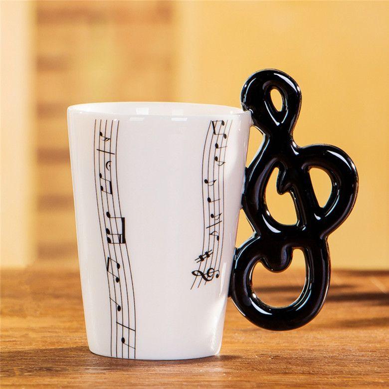 الغيتار السيراميك القدح صنع الشاي والحليب الموسيقى الكؤوس مع مقبض القدح القهوة هدايا للغيتار اللاعبين الموسيقيين