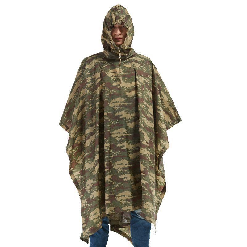 QIAN Impermeable Raincoats Women/Men Jungle Rain Poncho Backpack Camouflage Rain Coat Cycling Climbing Hiking Travel Rain Cover CX200629