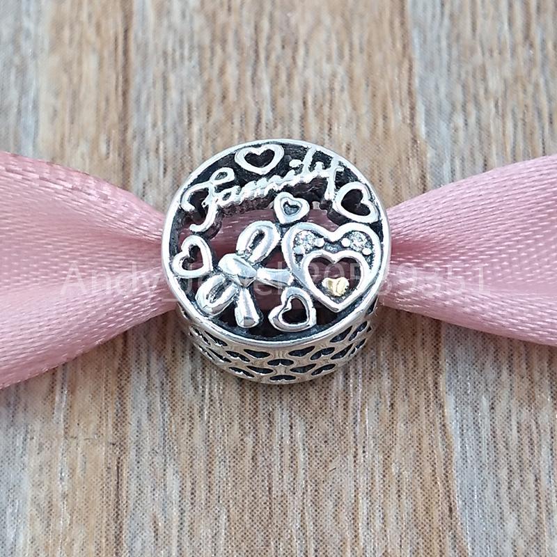 Authentic 925 Sterling Silver Perline Famiglia Tributo Charms Fascino Adatto Bracciali europei Bracciali per gioielli in stile Pandora 796267CZ