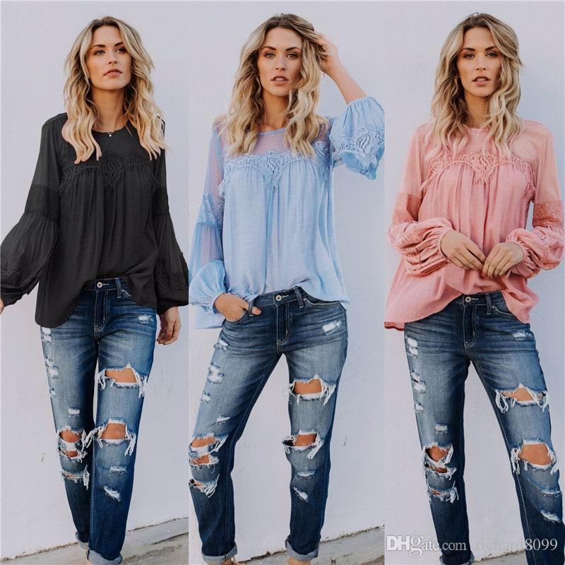 Pydownlake Women Blouse Shirt Patchwork Thin Chiffon Lace Long Sleeve See Through Spring Fashion Girl Female Sweet Shirt 2019 Blusas Casaul
