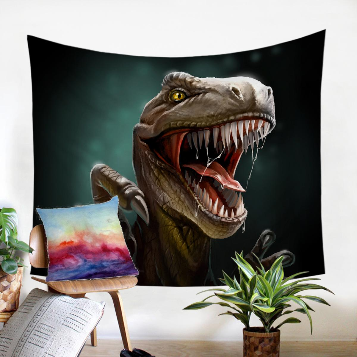 Spike Dinosaur Wall Hanging Beach mandala Telo Tapestry Acquerello Wall Hanging Tappeti Dorm Decor Psychedelic Tapestry