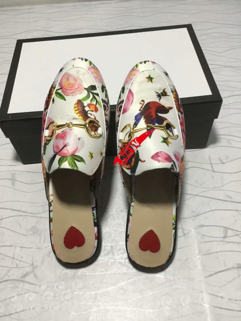 Luxus-Designer Prince Klassische rutschige Metallschnalle Strand Pantoffel weich faule Schuhe Original-box36-45