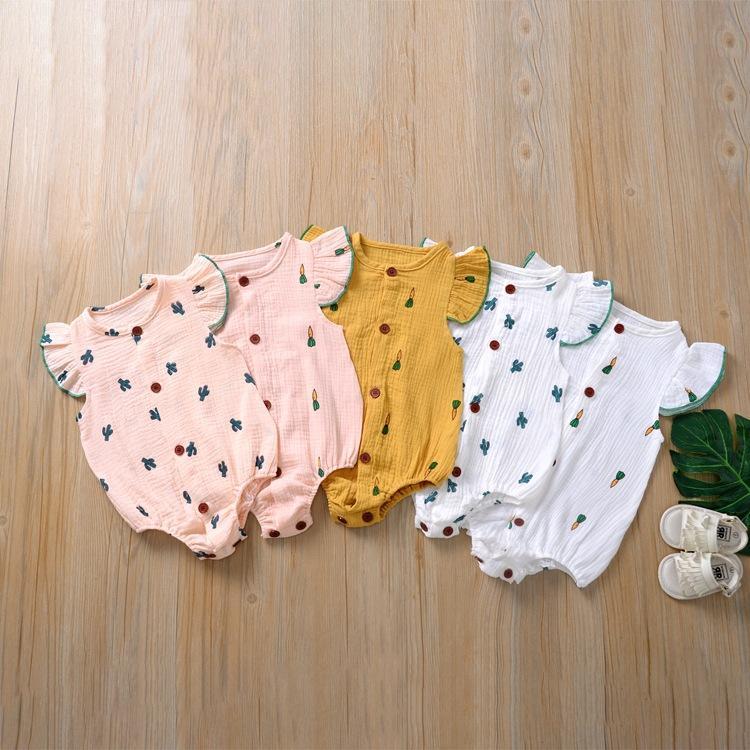 5 ألوان الوليد الطفل رومبير الصيف بذلة الكرز الصبار المطبوعة الرضع فتاة الأميرة نيسيس ارتداءها الملابس مع أزرار