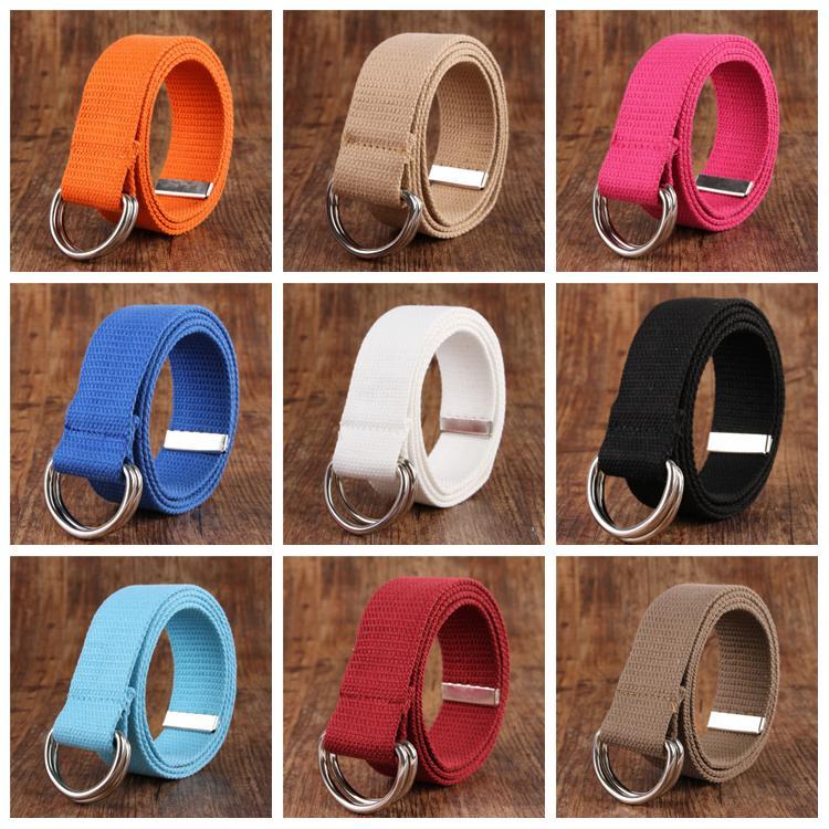 Cintos de lona Belt Mulheres Homens cintura anéis dobro da curvatura ajustável Strap Moda Longo Cintura Casual Waistbelt YFA13
