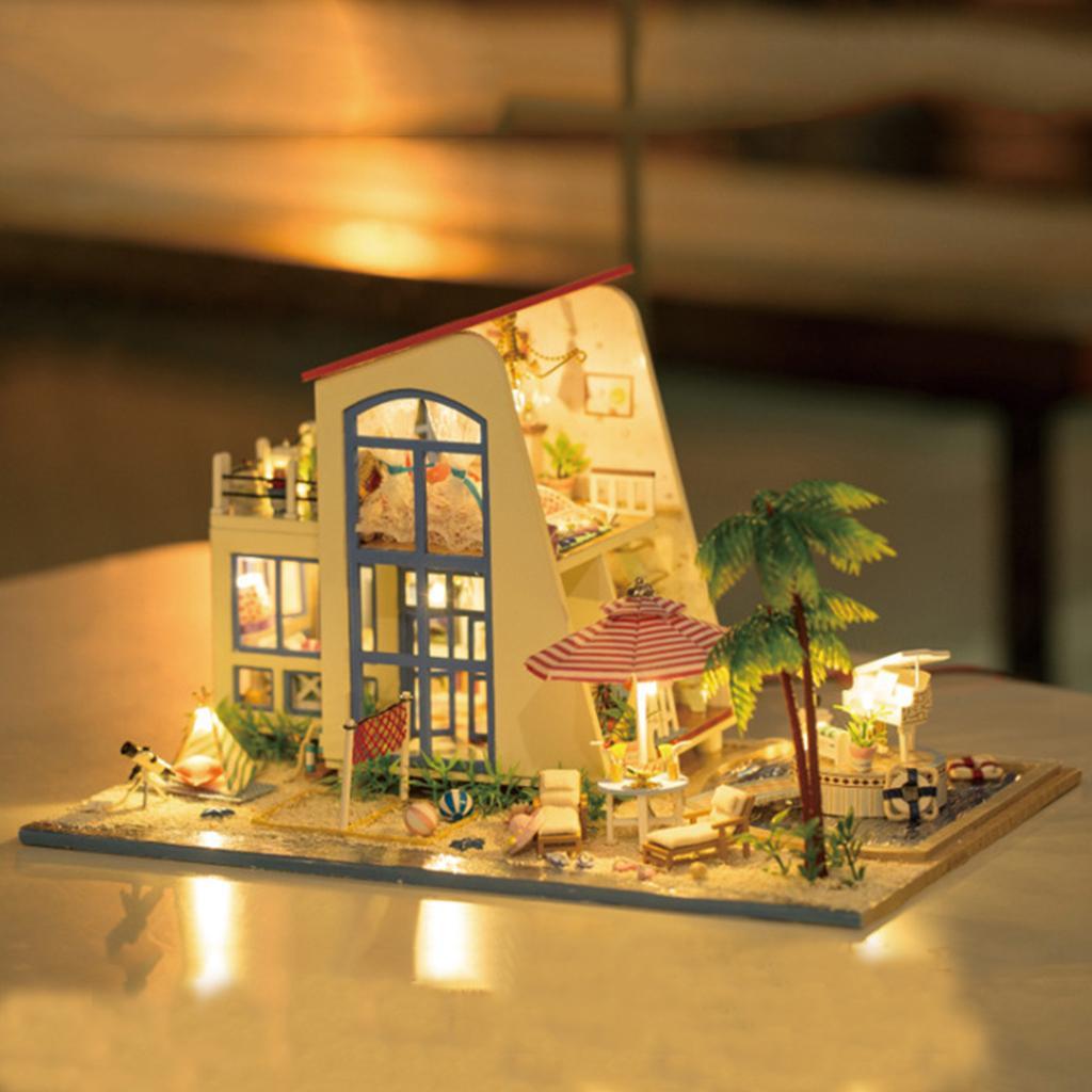 Uno y veinticuatro Dollhouse Kit miniatura regalos DIY Mar Villa Casa Kits mejor cumpleaños para Juguetes Educación Adolescentes
