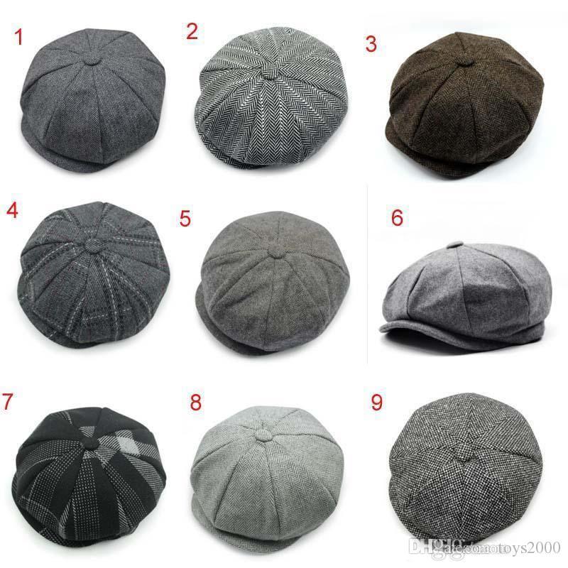 recém-chegados Adulto Newsboy bonés de todo o chapéu jogo boinas tampão do inverno quente mais 25 cores