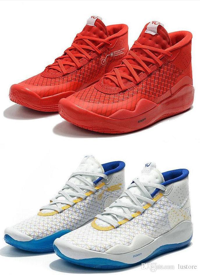 2019 Kevin Durant 12 Yıldönümü Üniversitesi 12s XII Oreo Erkek Basketbol Ayakkabı ABD Elite KD12 Sport Sneakers 40-46