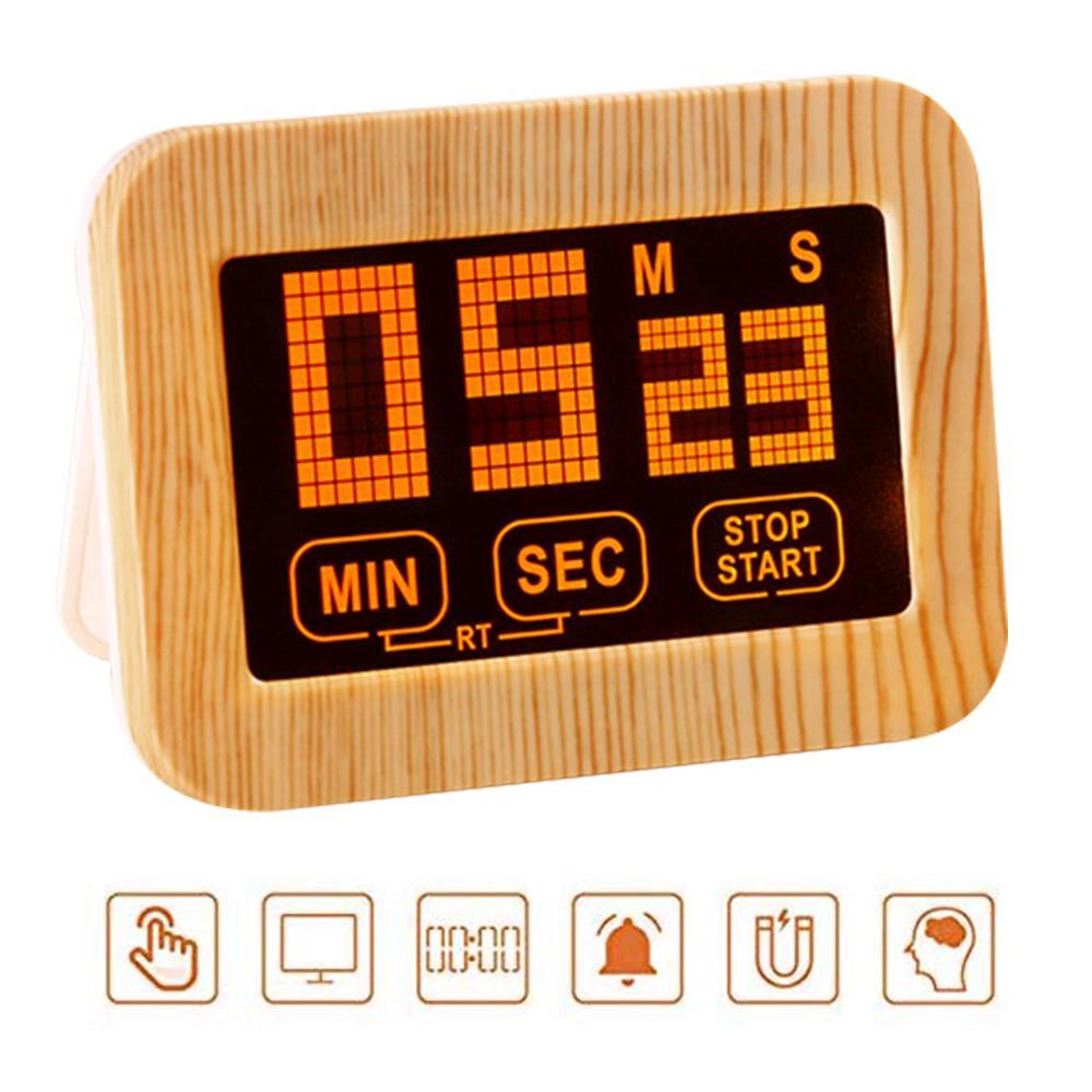 Pantalla táctil luminosa Kitchen Timer LCD de pantalla magnética con el soporte del temporizador despertador luminoso Loud Digital Estudio temporizador de pantalla táctil