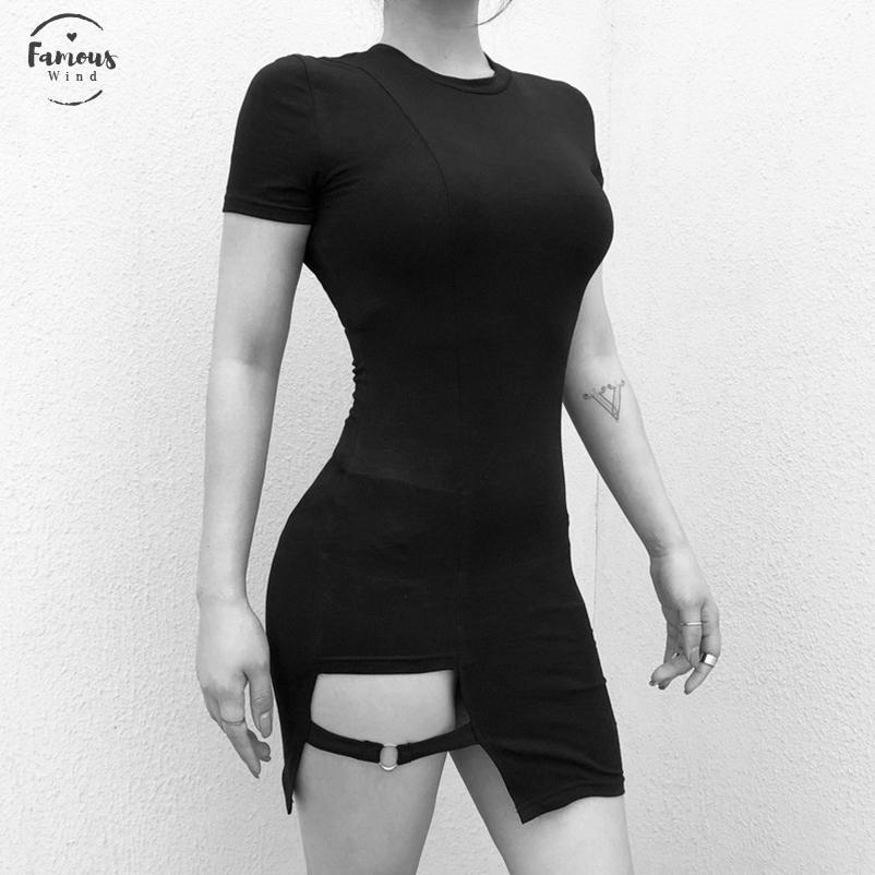 Sexy Mulheres vestido preto gótico Sólidos Vestido justo das senhoras magro Streetwear Mulheres Sólidos Club New Fashion Dress Sexy Casual Vestidos Feminino
