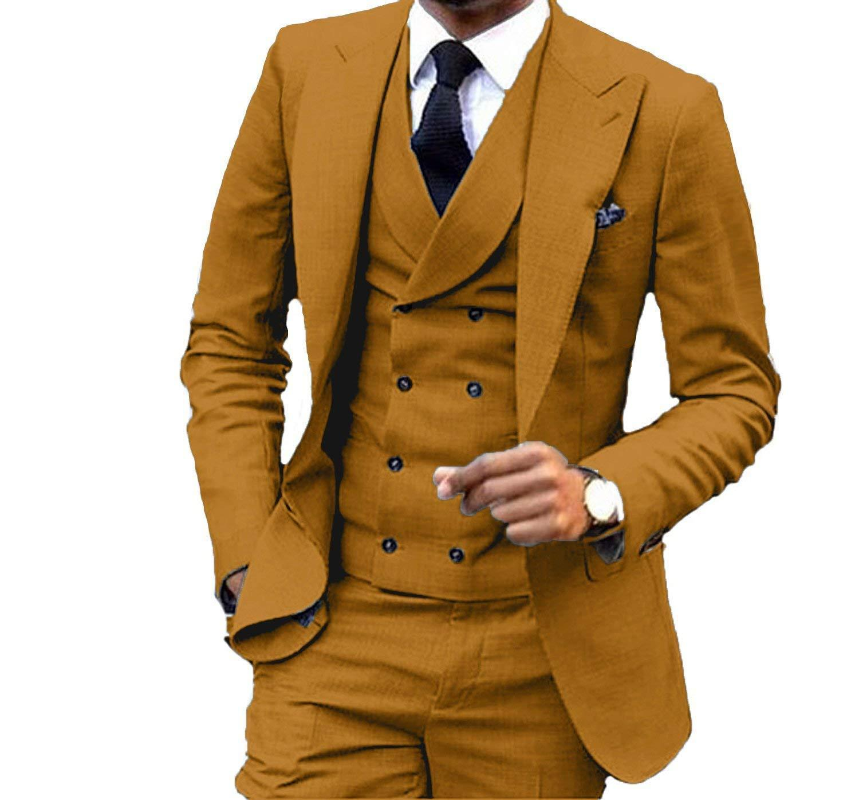Slim Fit Marron Jaune Tuxedos Peak Lapel Groomsmen Homme Robe De Mariée Homme Populaire Veste Blazer 3Piece Suit (Veste + Pantalon + Gilet + Cravate) 1047