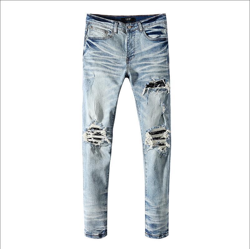 Erkekler Tasarımcı Marka Jeans Klasik Hip Hop Pantolon Tasarımcı Delik Jeans Sıkıntılı Biker Jean İnce Fit Denim Jeans Firmati da uomo Ripped