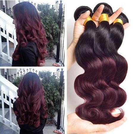 Ombre Two tone 1B 99J black and burgundy human hair Brazilian Peruivan body wave hair bundles 3pcs