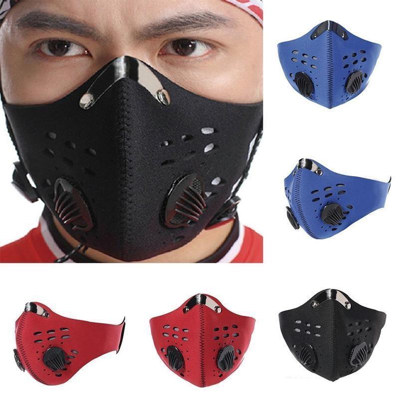 Vélo anti-poussière Bike Masque visage avec charbon actif Homme Femme Course à pied Cyclisme anti-pollution vélo masque facial d'isolement avec filtre