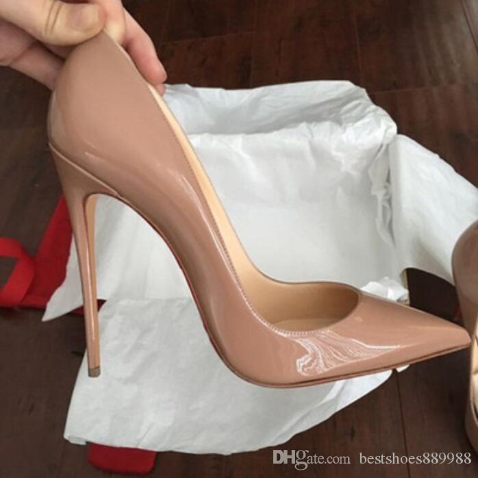 2019 calientes de las mujeres Zapatos inferiores del rojo sexy tacones altos punta estrecha del pie roja de 8 cm 10 cm 12 cm bombas vienen con el logotipo de polvo los zapatos bolsas de boda