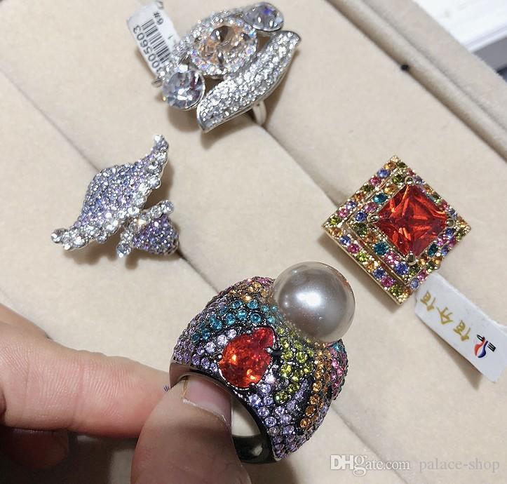 wondrful Qualitätsdiamantkristallgroßverkauf mehr Ringe der Art 6pcs / lots 925 silberne Dame (random0 (6.2) tr