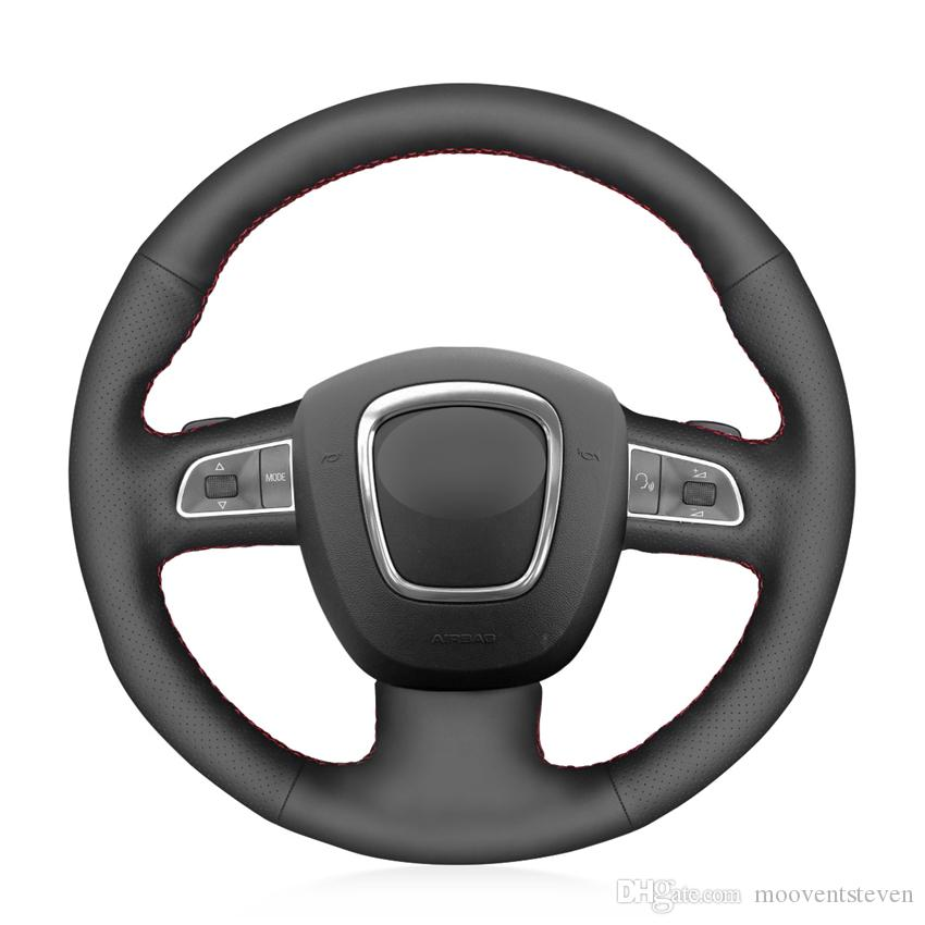 MEWANT Black Artificial Leather Car Steering Wheel Cover for Audi A3 8P Sportback A4 B8 Avant A5 8T A6 C6 A8 D3 Q5 8R Q7 4L S3 S4 S5