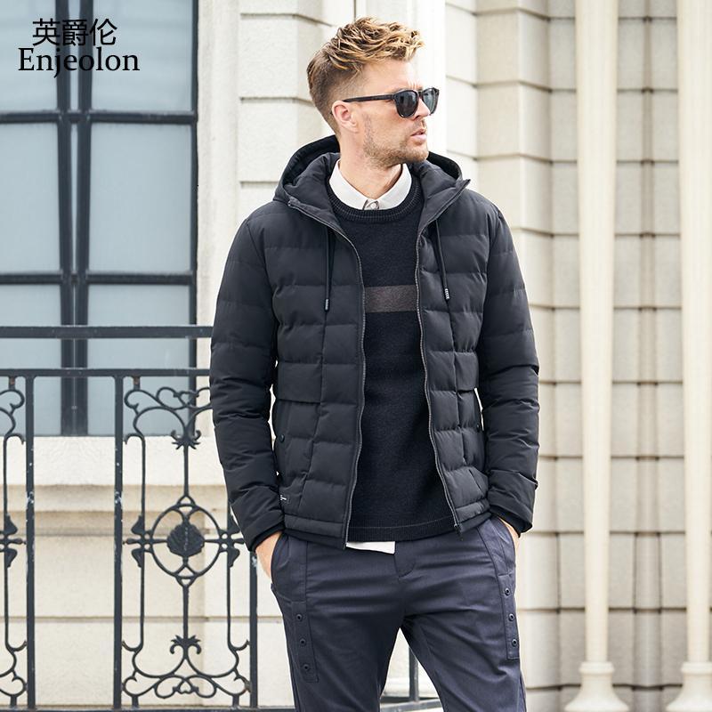 Enjeolon Brand Winter Cotton Hoodies Chaqueta Hombre cool Parka con capucha negro Chaqueta acolchada gruesa Coat 3XL Hombres MF0711 T190908