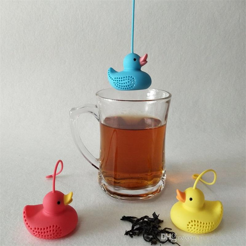Little Duck Tea Infuser Yellow Red Blue Color Duck Tea Bag 5*5*4.3CM Mini Tea Strainer With Rope