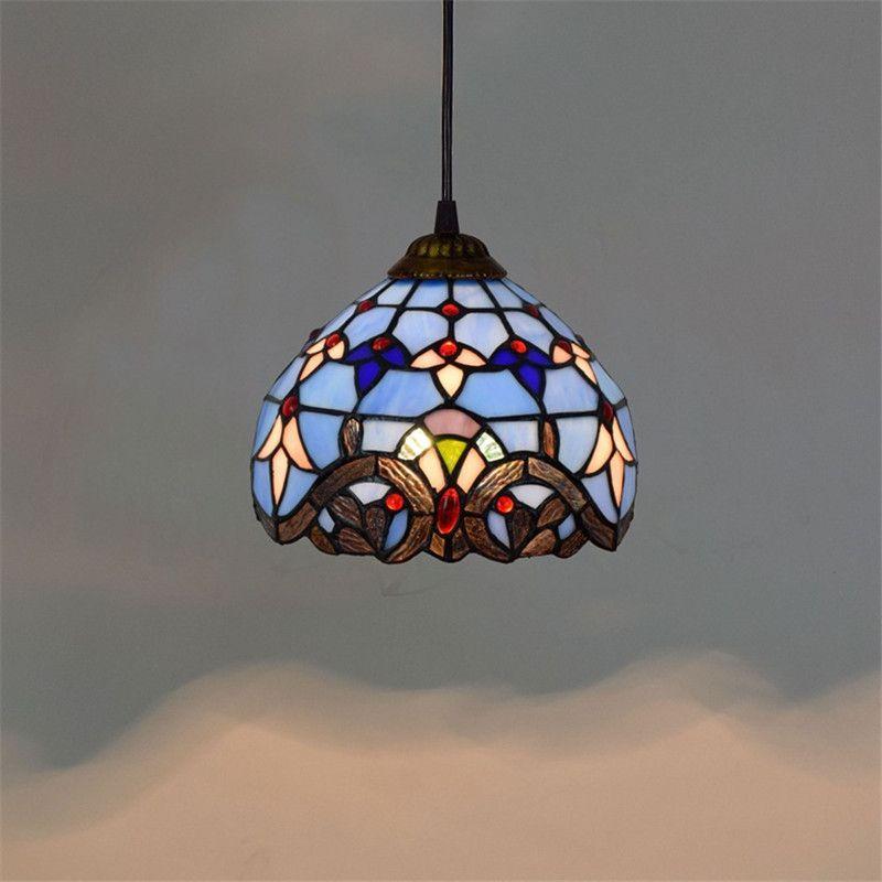 유럽 8 인치 빈티지 티파니 교수형 램프 블루 스테인드 글라스 샹들리에 침실 발코니 복도 유약 펜던트 Lamptf003