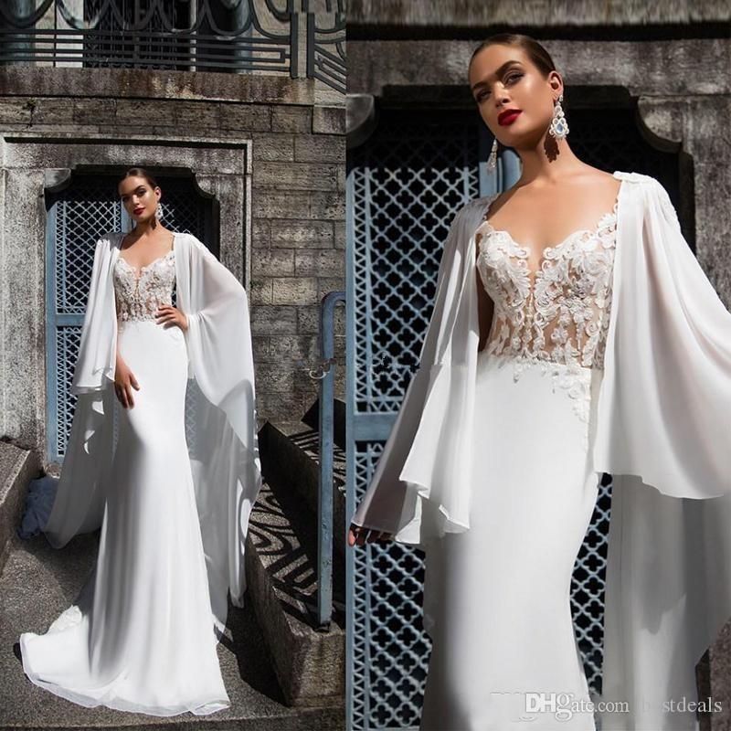 2020 롱 케이프 아플리케와 인어 웨딩 드레스 호두 버튼 돌아 가기 캐슬 웨딩 드레스 환상 레이스 신부 가운