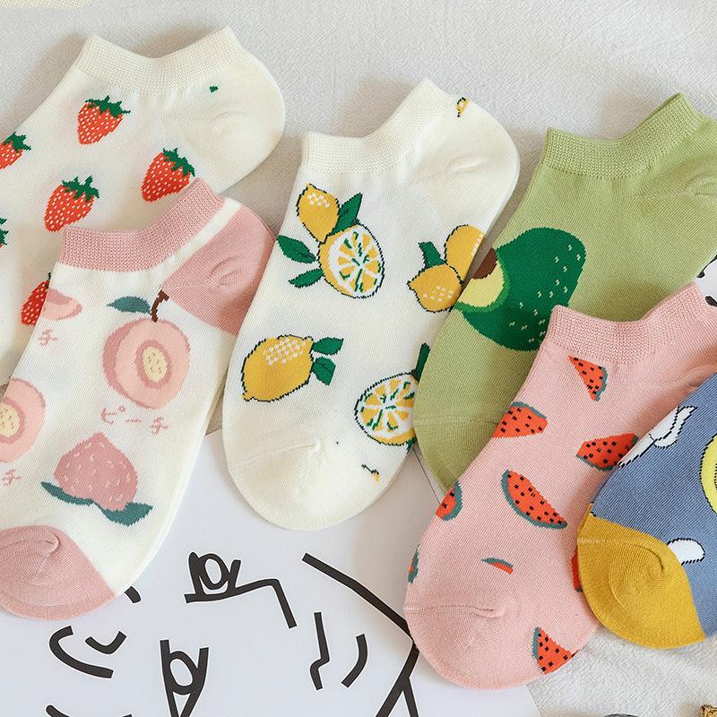 Chaussettes femmes printemps et en été chaussettes en coton mince japonais Petit et mignon frais Fruit Bateau