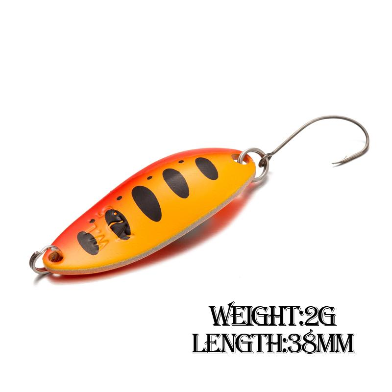 1pcs appât cuillère en alliage d'aluminium 2g 38mm en métal pesca pêche à la truite pêche Wobbler cuillère leurre perche brochet saumon appâts durs