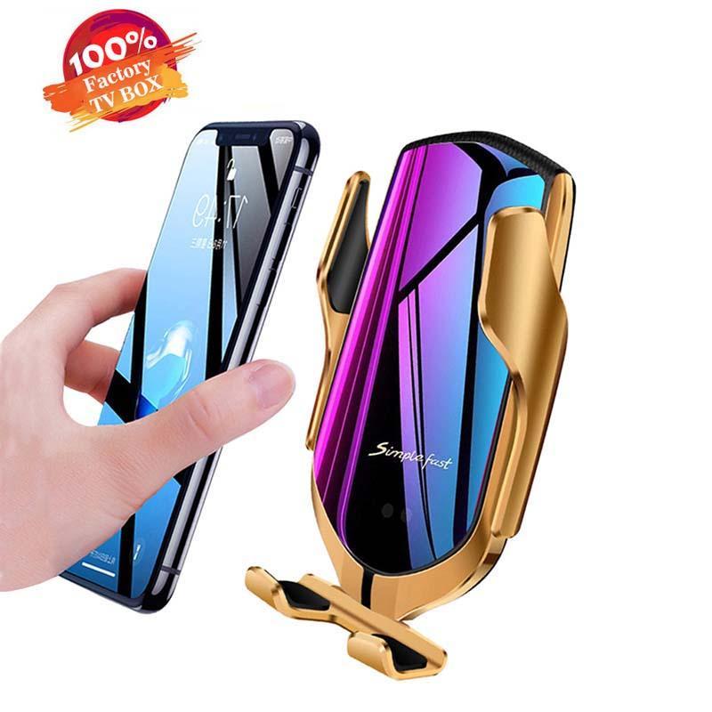 1 PCS Hot rápido 10W de carregamento sem fio Estação R1 automático de fixação Phone Holder Mount Car Carregador sem fio para Huawei Samsung S11 S10