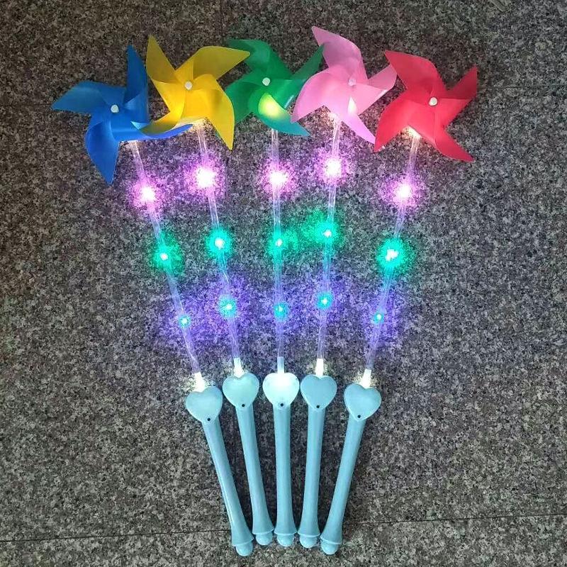متعدد الألوان فلاش مقبض ملون مع ضوء الأطفال الانارة طاحونة لعب الصمام طواحين الهواء البلاستيكية لعبة الساخن بيع 2 4hpa l1