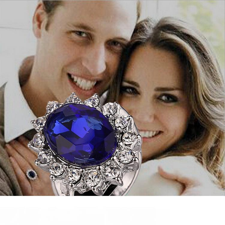 Wholesale Luxury British Kate Princess Diana William Engagement Wedding Blue Sapphire Ring For Wedding Engagement Jewelry Promise Ring Diamond Engagement Rings From
