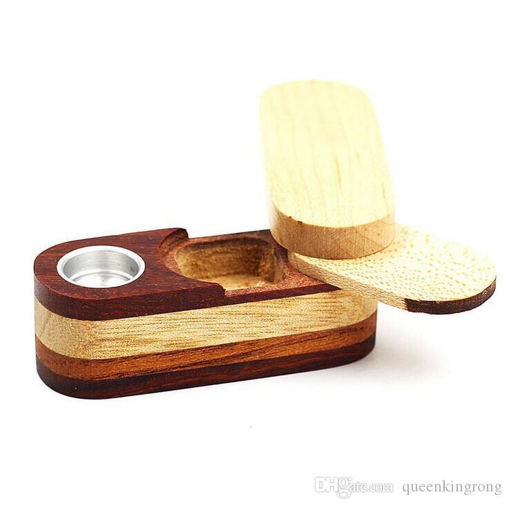 Newest Folding Smoking Wooden Pipe Foldable Metal Monkey Hand Tobacco Cigarette Pipe With Storage Space Bowl Tools Accessories Fashion