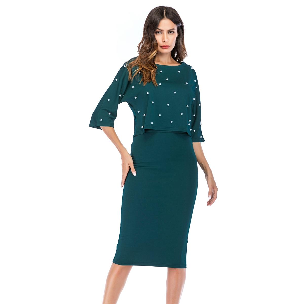 Top Skirt Set Bodycon Party Cocktail Skirt Fashion Beads Blouse 3/4 Sleeves Dark Green Outfit Casual Women 2 Piece Sets 8712