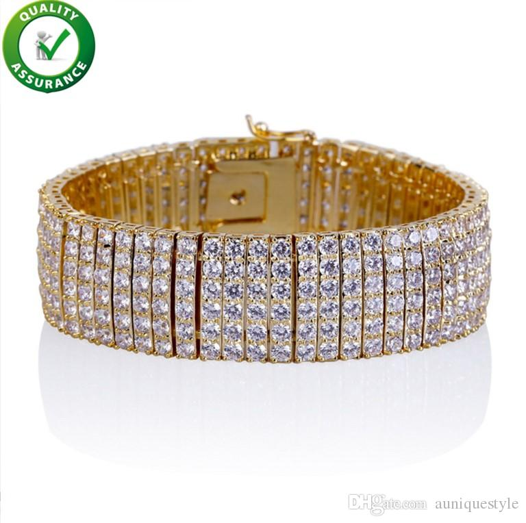 Hip Hop Jewelry Diamond Tennis Bracelet Luxury Designer Mens Bracelets Gold/Silver Iced Out Chains Micro Pave CZ 6Row Fashion Love Bangle