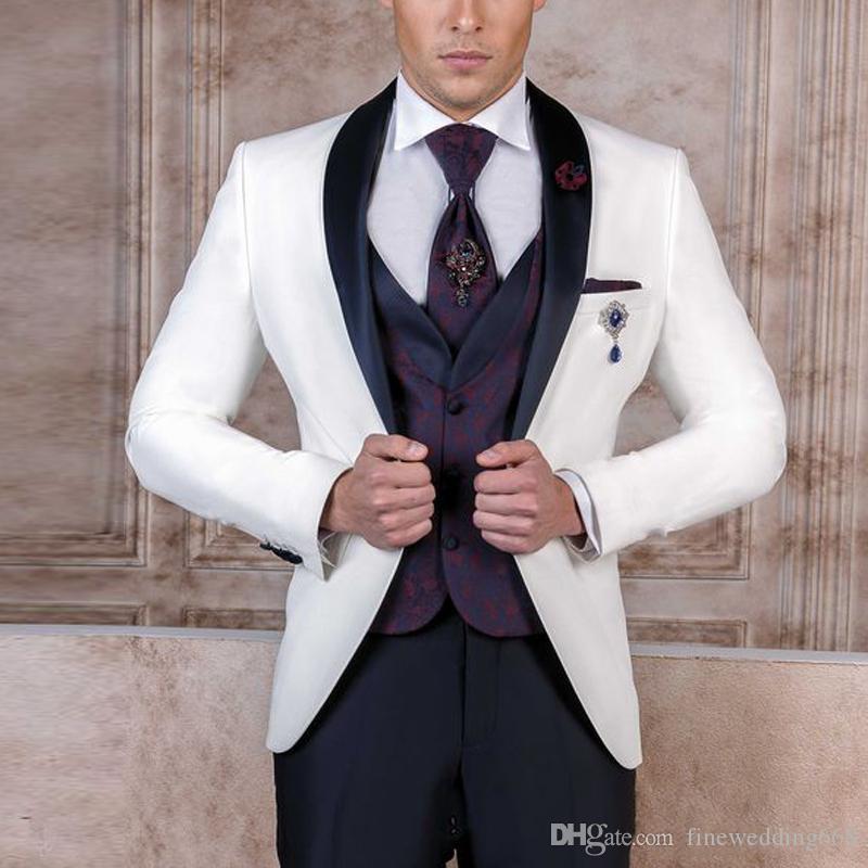 Новые One Button Groomsmen шаль лацкане венчания Groom смокинги мужчин Костюмы венчания / Prom / ужин Best Man Blazer (куртка + Tie + Vest + брюки) +978