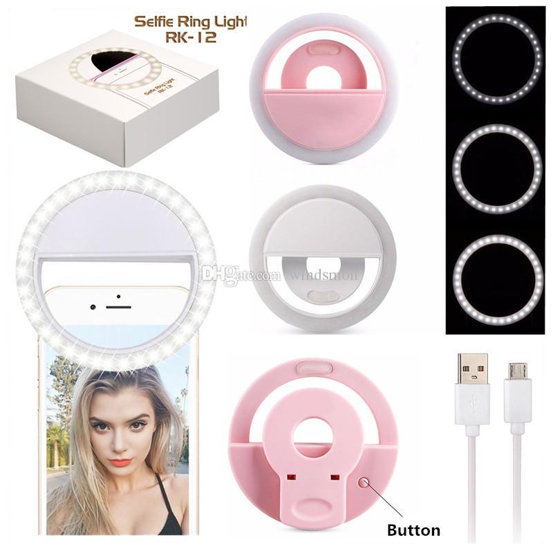 Smartphone Portable USB universel clip vidéo rechargeable Photographie Webcast Led Light Ring selfie LED lumière DHL