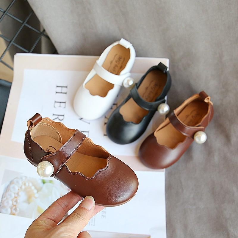 Todder Pearl Shoes New Fashion Korean Children's Girls Spring Autumn Pu Princess Danceing Shoes Kids Shoe Girls Baby Flat Shoe