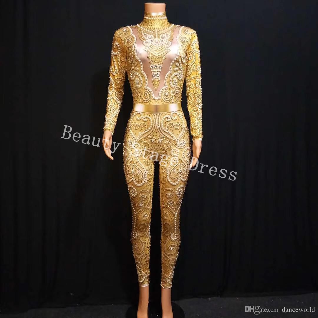 Seksi Altın Taşlar Streç Tulum kadın Akşam Parti Giyim Sarı Rhinestones Bodysuit Kostüm Balo Doğum Günü Kutlamak Kıyafet DS Tulum