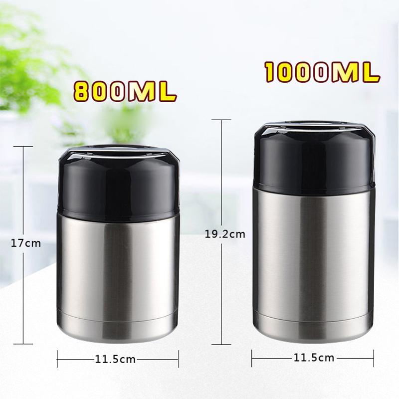 Große Box 800ml und 1000ml Isolier-Cup Edelstahl-Vakuum Jars Thermos Lunch Box für warme Speisen mit Thermo Pot Behälter Y200429