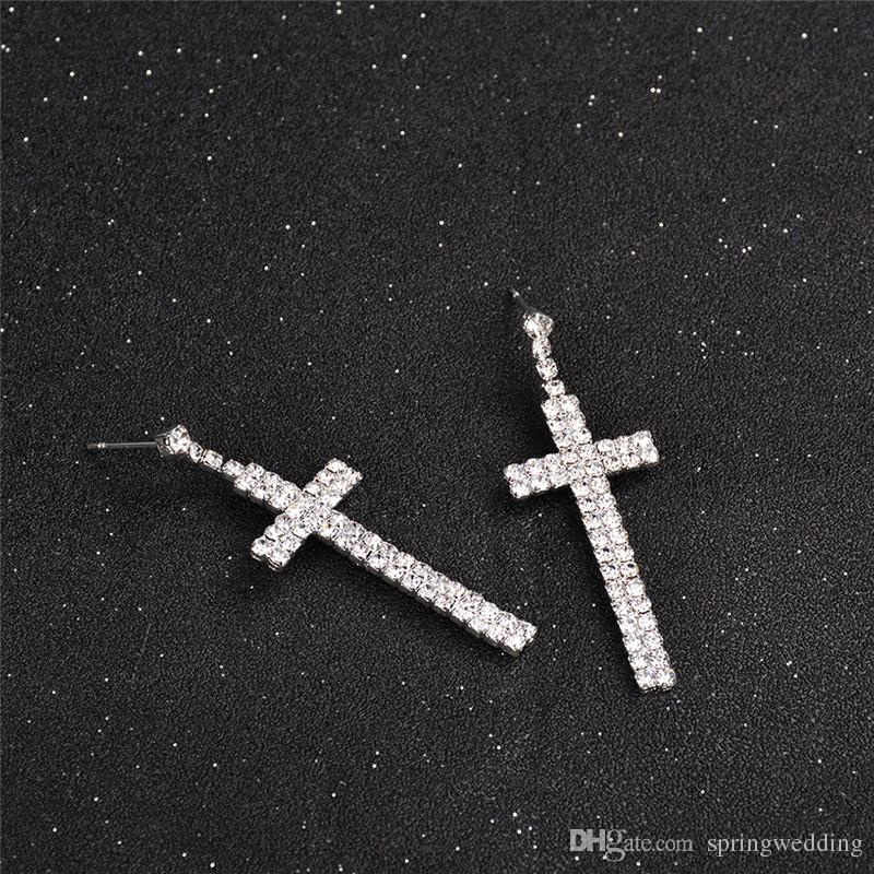 Silver Stud Cross Earrings For Women Men Fashion Wear Accessories Bridal Jewelry Christmas Birthday Valentine's Day Gift CPA1876